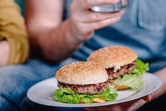 Homemade meat burgers on plate Stock Photos