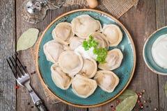 Homemade Meat Dumplings - russian pelmeni Stock Images