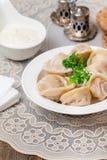 Homemade Meat Dumplings - russian pelmeni Royalty Free Stock Image