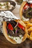Homemade Meat Gyro with French Fries Royalty Free Stock Images