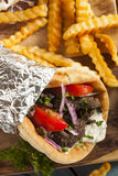 Homemade Meat Gyro with French Fries. Homemade Meat Gyro with Tzatziki Sauce, tomatos and French Fries stock photos