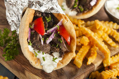 Homemade Meat Gyro with French Fries Royalty Free Stock Photography