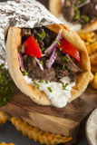 Homemade Meat Gyro with French Fries Stock Photos