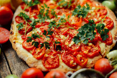 Homemade Meat Loves Pizza with Pepperoni Sausage and Bacon. Home Stock Images