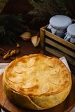 Homemade meat pie decorated with fall leaves Royalty Free Stock Photo