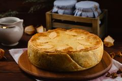 Homemade meat pie decorated with fall leaves Stock Images
