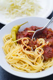 Homemade Meat Sauce and Spaghetti. Homemade meat sauce served with pasta, feferoni stock images