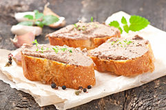 Homemade meat snack chicken liver pate Royalty Free Stock Image
