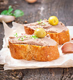 Homemade meat snack chicken liver pate Stock Images