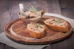 Homemade meat snack  liver pate Stock Images