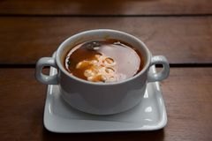 Homemade meat soup, Solyanka or saltwort. Vegetable soup Stock Image