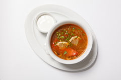 Homemade meat soup, Solyanka or saltwort. Vegetable soup Royalty Free Stock Images