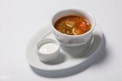 Homemade meat soup, Solyanka or saltwort. Vegetable soup Stock Photos