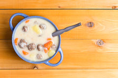 Homemade meatball soup with fresh vegetables Stock Photography