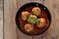 Homemade, Meatball with tomato sauce in pan. Stock Image