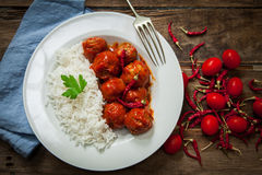 Homemade meatballs in tomato Stock Photography