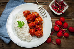 Homemade meatballs in tomato Stock Images