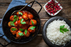 Homemade meatballs in tomato royalty free stock photography