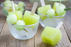 Homemade melon popsicles in the glass Stock Images