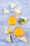 Homemade melon sorbet. On a light background. Selective focus royalty free stock image
