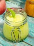 Homemade melon sorbet on a vintage background. Macro shot selective focus stock photos