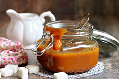 Homemade melted caramel. Royalty Free Stock Images