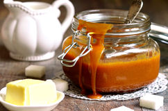 Homemade melted caramel. Stock Image