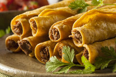 Homemade Mexican Beef Taquitos Royalty Free Stock Photography