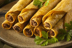Homemade Mexican Beef Taquitos Stock Photography