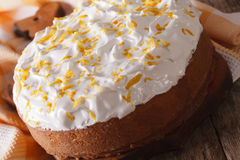 Homemade Mexican cake with white icing closeup. horizontal Stock Images
