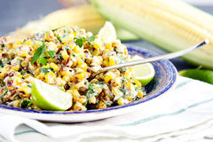 Homemade Mexican Corn Salad. Close up of homemade vegetarian mexican street food corn salad with cilantro, lime, mayonnaise, garlic, chili and cheese on blue stock images