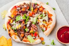 Homemade Mexican Taco PIzza Royalty Free Stock Images
