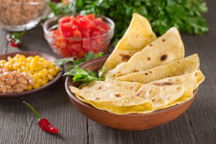 Homemade mexican tortilla. With ingredients Stock Photo