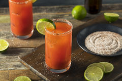 Homemade Michelada with Beer and Tomato Juice Royalty Free Stock Photos