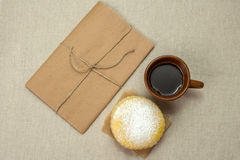 Homemade milk biscuits and a cup of coffee Stock Images