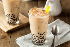 Homemade Milk Bubble Tea With Tapioca Stock Photography