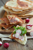 Homemade milk flatbread with cream cheese, lettuce and radish Royalty Free Stock Photography
