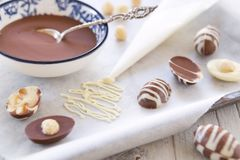 Homemade chocolate Easter eggs Stock Images