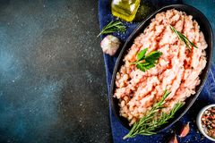 Homemade minced chicken meat stock image