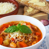 Homemade Minestrone Soup. Italian hearty vegetable soup is just delicious Stock Images
