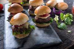 Homemade mini beef burgers Royalty Free Stock Photo