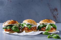 Homemade mini burgers with pulled chicken Stock Photography