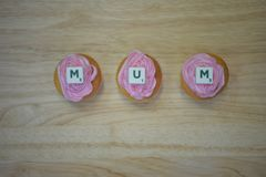 Homemade mini pink cakes for mothers day with space royalty free stock image