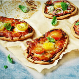 Homemade mini pizza stock image