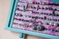 Homemade mint colored jewellery box royalty free stock images