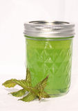 Homemade Mint Jelly with Mint Sprig. Mint jelly with a mint leaf. Home canning and preservation image in brilliant mint green Stock Image