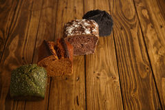 Homemade mixed breads presented for sale Royalty Free Stock Photos