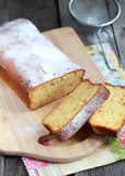 Homemade Moist cake with orange juice and zest. Homemade Moist bread with orange juice and zest with the addition of almond flour, Selective focus on slices of Royalty Free Stock Photo