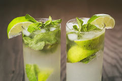 Homemade mojito cocktail on wood table Stock Photography