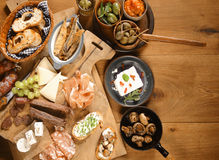 Homemade Mouth Watering Appetizers and Snacks Stock Photos